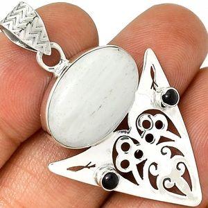 Jewelry - Artisan Scolecite/Black Onyx 925 Pendant